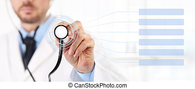 hands Doctor with a stethoscope touch screen medical care concept