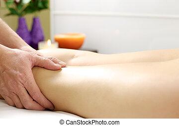 Hands doing massage to sore legs
