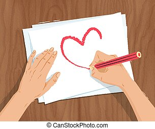 Hands drawing heart shape