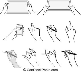Hands drawing using devices
