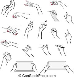 Hands drawing using devices - Holding hands with media...