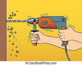 Hands drilling wall with rock drill pop art vector - Hands...