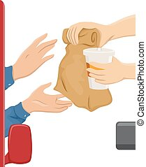 Hands Drive Thru - Illustration of a Customer Getting Food...