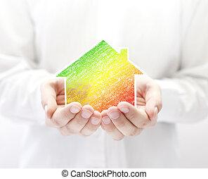 hands., färgrik, hus, teckning