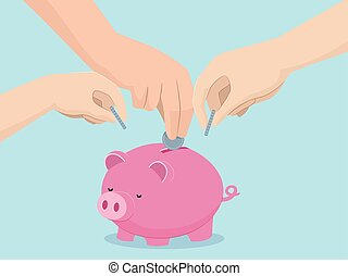 Hands Family Save Piggy Bank Illustration