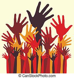 hands., felice, grande gruppo