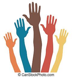 hands., feliz, grupo