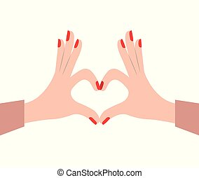 hands female forming a heart with her fingers on white background