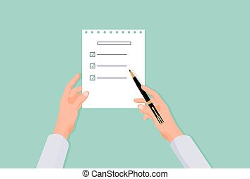 Hands fill list in questionnaire. Choosing right answer in ...