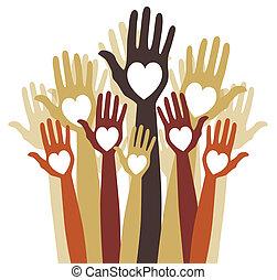 hands., fin, aimer, groupe