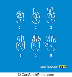 hands, finger and numbers - Count vector hand and fingers