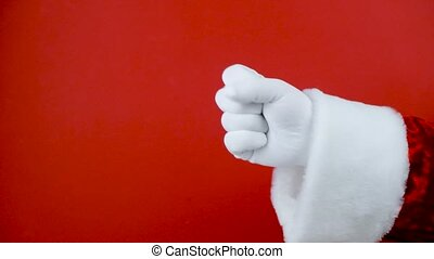 Hands Fingers Education Counting Set. Santa Hand in white glove gesturing one to five on red background. Counting number 1 to 5.