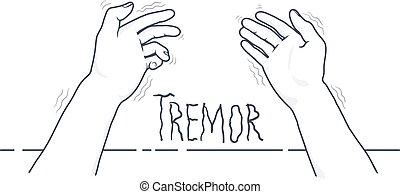 hands., first-person, medico, isolato, parkinson's, fondo., vettore, illustrazione, disease., tremito, bianco, tremante, sintomo, vista
