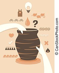 Illustration of Hands Holding a Jar on a Pottery Wheel with Different Design Elements