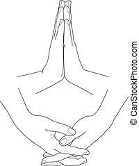 Hands folded in prayer, vector illustration set