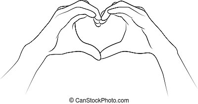Hands folded together in the shape of a heart.