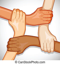 Hands for Unity - illustration of hands holding each other...