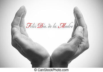 hands forming a cup and the sentence feliz dia de la madre, happy mothers day in spanish