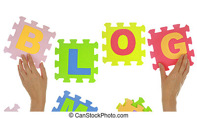 """Hands forming word """"Blog"""" with jigsaw puzzle pieces isolated"""