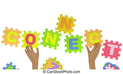 "Hands forming word ""connect"" with jigsaw puzzle pieces isolated"
