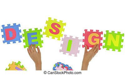 "Hands forming word ""Design"" with jigsaw puzzle pieces isolated"