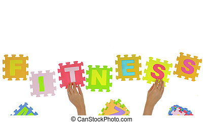 "Hands forming word ""Fitness"" with jigsaw puzzle pieces isolated"