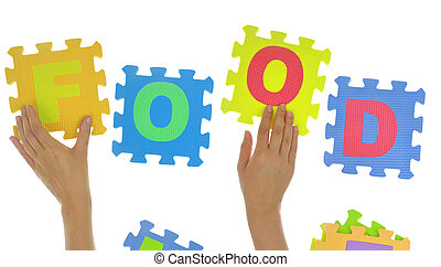 """Hands forming word """"Food"""" with jigsaw puzzle pieces isolated"""