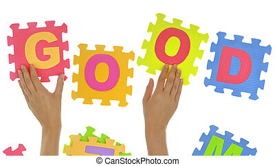 "Hands forming word ""Good"" with jigsaw puzzle pieces isolated"