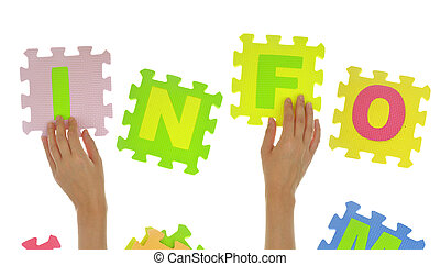"Hands forming word ""info"" with jigsaw puzzle pieces isolated"