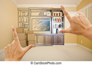 Hands Framing Drawing of Entertainment Unit Gradating Into Photograph