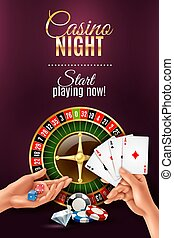 Hands Games Poster - Realistic poster with casino gambling...