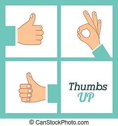 Hands gesture design over blue background, vector...