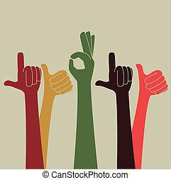 hands gesture over beige background vector illustration