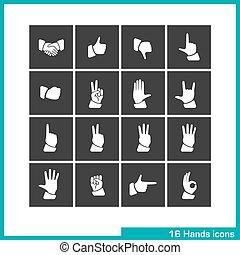 Hands gestures icon set.
