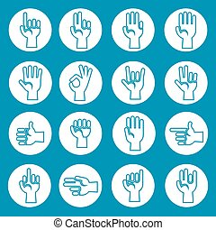 Hands gestures vector icons set blue