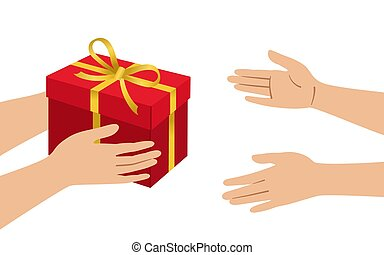 Hands give red box gold accept gift cartoon vector