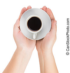 hands giving a Cup of coffee