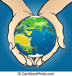 Vector illustration of hands holding small planet earth and giving it. Concept image of global market, investment, bright successful future, globalization, ecology, green technology for new generation