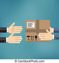 Hands giving cardboard package to another hands.