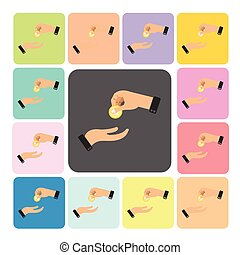 Hands giving Icon color set vector illustration.