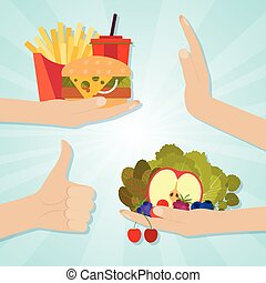 Hands giving junk and healthy eating. Food choice concept