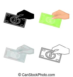 Hands giving money icon in cartoon style isolated on white background. Charity and donation symbol stock vector illustration.