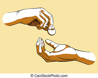 A vector of two hands, one giving coin of money and the other receiving it. Symbolizing the concept of generosity, charity, and helping others. Available as a Vector in EPS8 format that can be scaled to any size without loss of quality.
