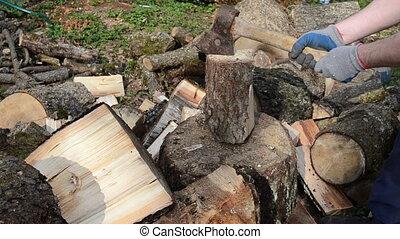 hands glove chop firewood