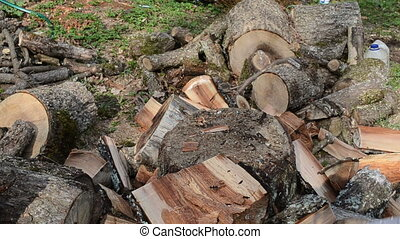 Hands gloves chop wood