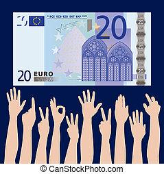 hands grab at a 20 euros
