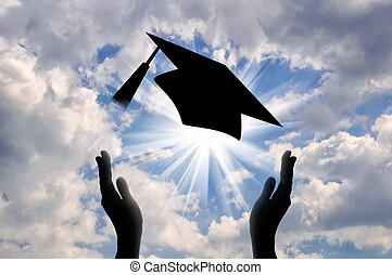 Hands graduate cap throw up in sky. concept of education