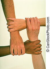 Hands Grasped in Common Cause - Four hands with each...