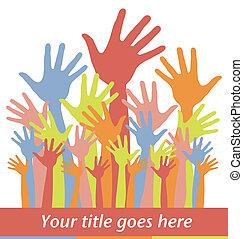 hands., groot, kleurrijke, groep