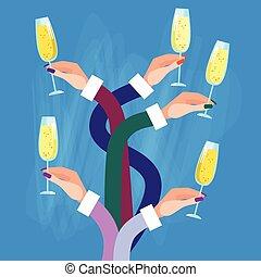 Hands Group Holding Glasses Champagne Wine Celebration Concept